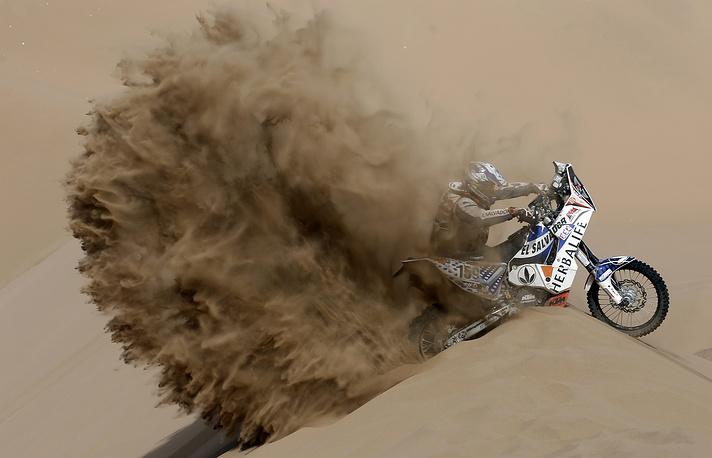 Jorge Aguilar motorcycle pilot during Chilean leg of Dakar 2013 rally. January 10, 2013.