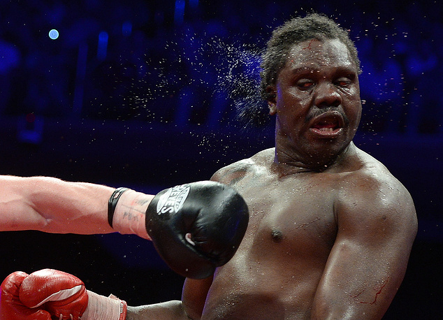 Panama's boxer Guillermo Jones during the WBA heavyweight championship match against Denis Lebedev. May 17, 2013.