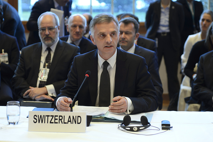 Swiss President Didier Burkhalter, during the opening of the so-called Geneva II peace talks in Montreux