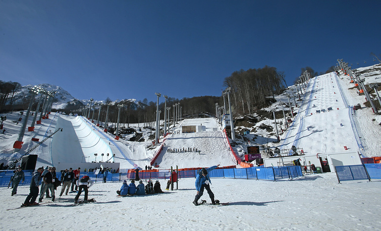 Extreme Park Rosa Khutor seen during the World Cup snowboarding half-pipe event