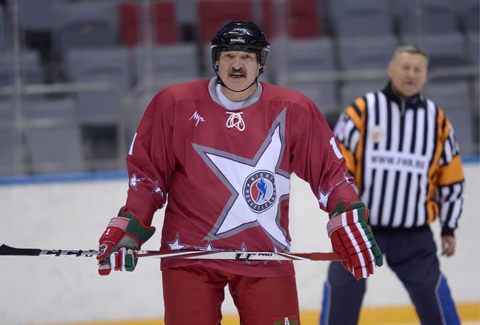 Belarus President Alexander Lukashenko took part in an ice hockey match during a visit to Sochi in Jan. 2013