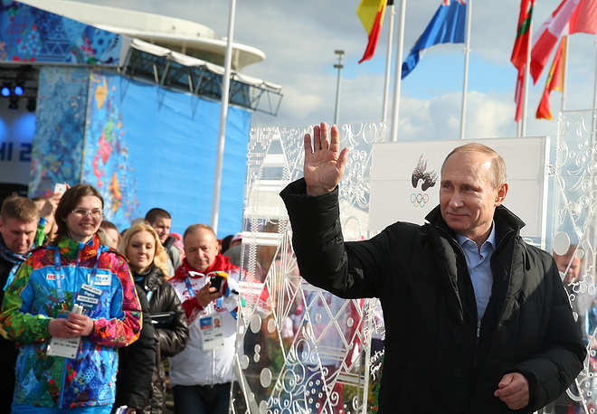 Russia's president Vladimir Putin visiting the Olympic village in the coastal cluster