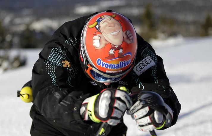 Switzerland's Didier Cuche often changes the design of his headgear