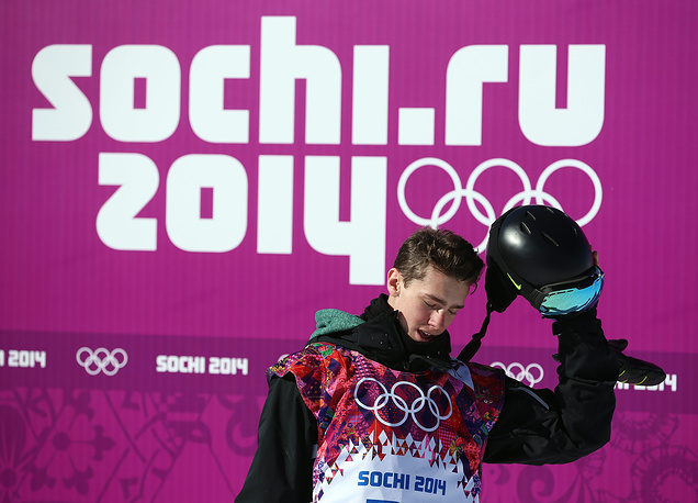 Seamus O'Connor of Ireland reacts after his second run during heat two of the Men's Snowboard Slopestyle qualification at Rosa Khutor Extreme Park at the Sochi 2014 Olympic Games, Krasnaya Polyana, Russia