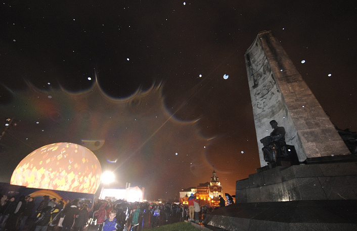 In the cities of the torch relay great celebrations were organized. this one's in Vladimir