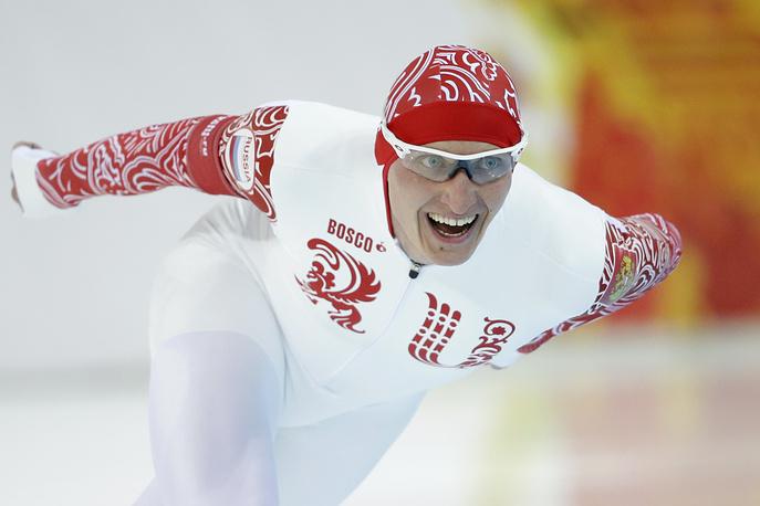 Russia's Ivan Skobrev competes in the men's 5,000-meter speedskating race