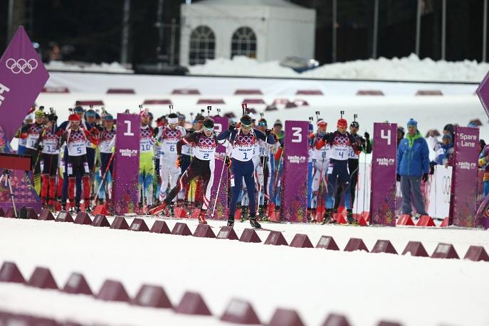 Norwegian biathlete Ole Einar Bjorndalen at the start of men's 12.5km pursuit