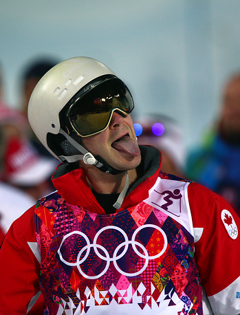 Marc-Antoine Gagnon of Canada reacts after the Freestyle Skiing Men's Moguls Final 3 at the Sochi 2014 Olympic Games