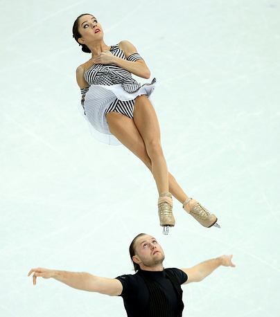 Vera Bazarova and Yuri Larionov of Russia perform during the Pairs Short Program of the Figure Skating event