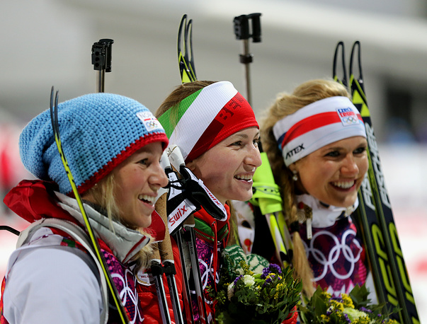 Bronze medalist Tiril Eckhoff of Norway, Gold medalist Darya Domracheva of Belarus and Silver medalist Gabriela Soukalova of the Czech Republic