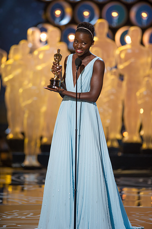 Lupita Nyong'o accepting the Oscar for Performance by an actress in a supporting role for her role in '12 Years a Slave'