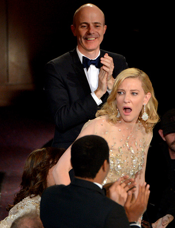 """Cate Blanchett reacts after winning the award for best actress in a leading role for """"Blue Jasmine"""""""