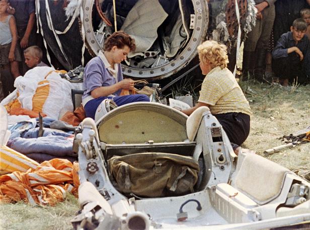 Valentina Tereshkova (center) after landing