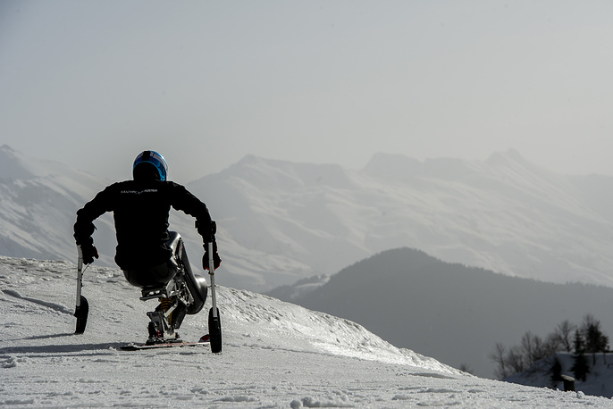 An Alpine Skiing athlet during a training session