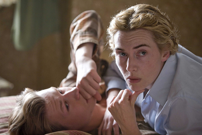 David Kross, left, and Kate Winslet are shown in a scene from The Reader'