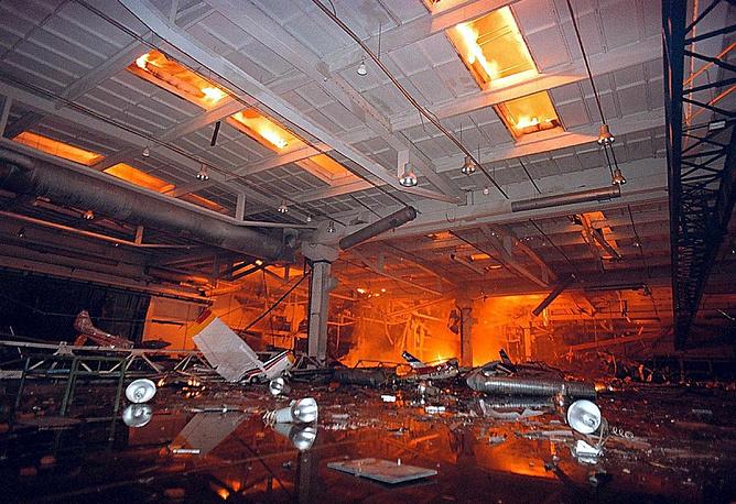 "Burning hangar of the aeronautical factory ""UTVA"" in Pancevo, Serbia"