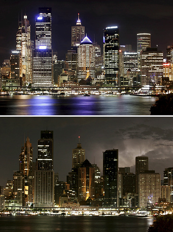 Earth Hour was started as a lights-off event in Sydney, Australia in 2007 Photo: Earth Hour 2008 in Sydney