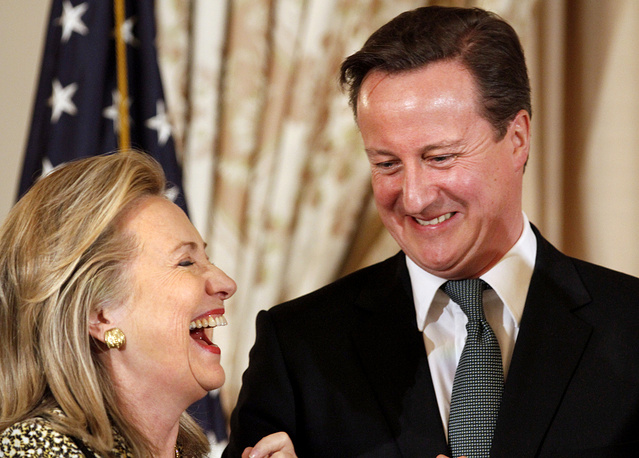 British Prime Minister David Cameron with Hillary Clinton