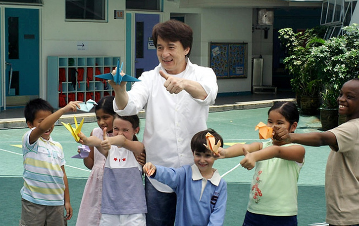 In 2006 the actor said he would leave half of his fortune for charity. Photo: Jackie Chan with children in 2006
