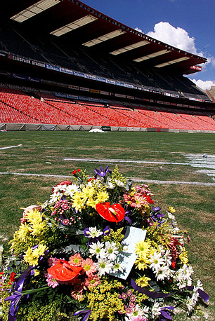 43 people were killed at the Ellis Park Stadium in Johannesburg, South Africa, during a stampede in 2001, when the capacity of the stadium had been exceeded almost twice