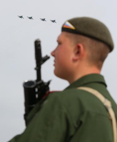 Soldier seen at the Alabino testing range