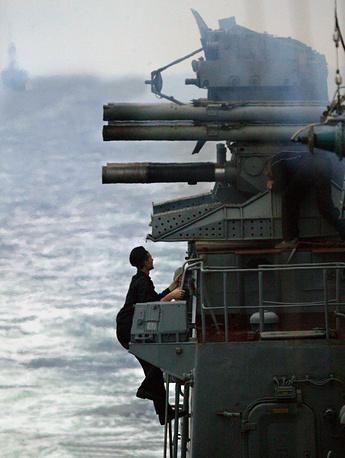 'Kortik' anti-aircraft missile complex seen on board the frigate Neustrashymy