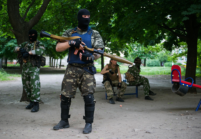 Donbass militia members in Kramatorsk