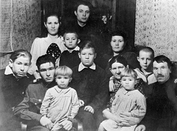 Alexei Leonov's family in Kaliningrad in 1950. The future cosmonaut is on the very left