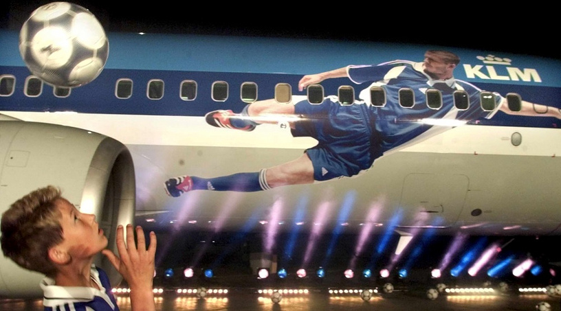 EURO2000 plane of the KLM air company picturing David Beckham