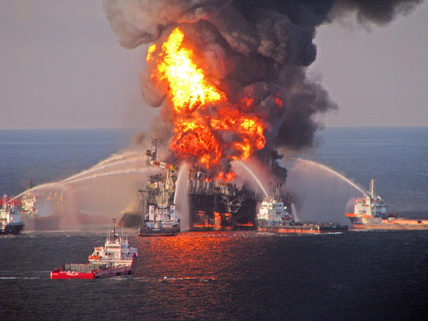 On april 20, 2010 an explosion at the Deepwater Horizonoil platform of the Swiss company Transocean Ltd. (operated by BP) in the Gulf of Mexico caused a major oil spill