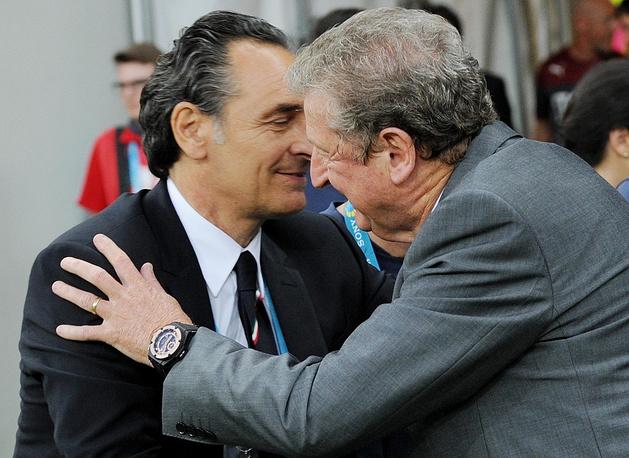 Italy coach Cesare Prandelli (left) and England's Roy Hodgson