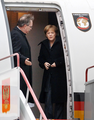 German Chancellor Angela Merkel arrives in Russia in 2008