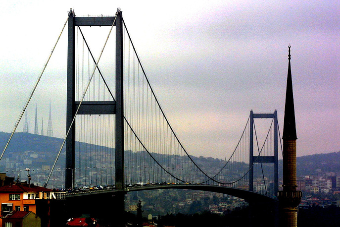 The Bosphorus Bridge in Istanbul connects Europe and Asia