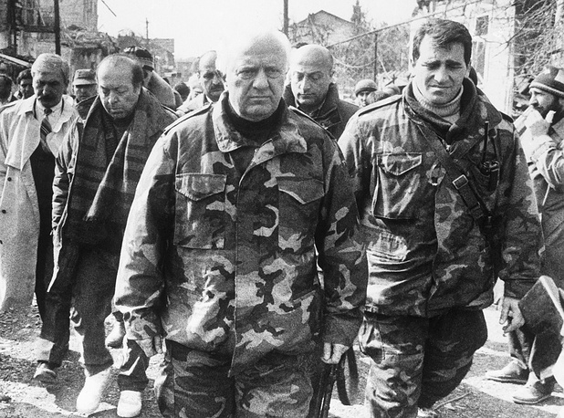 Eduard Shevardnadze during a visit to war-torn Sukhum in 1993
