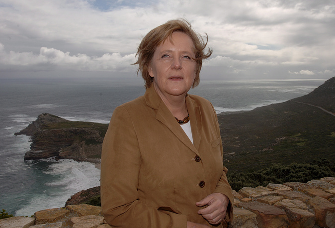 Angela Merkel in Cape Point, South Africa, in 2000