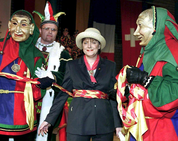 Angela Merkel at a traditional carnival in 2001