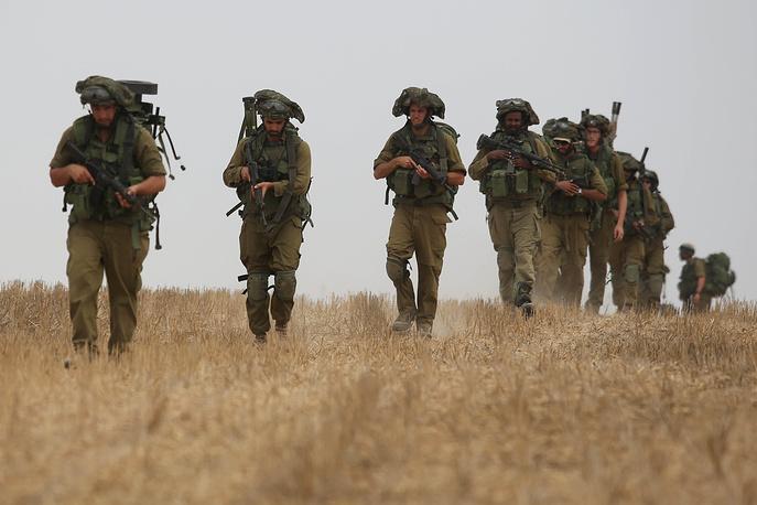 Israeli military patrol near the border with Gaza