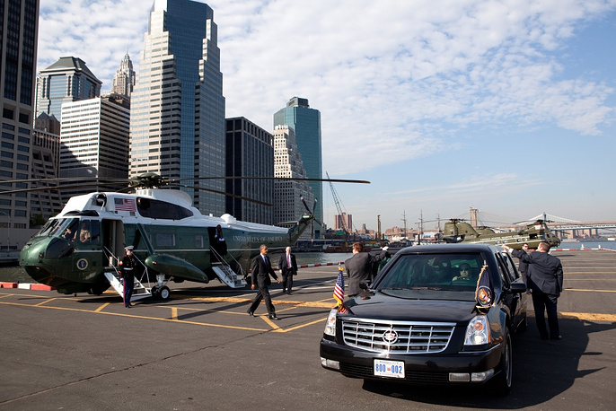 US President Barack Obama is transported in the armoured Cadillac One (Cadillac Presidential Limousine) also known as The Beast. His motorcade counts up to 40 vehicles transported on three Boeing С-17 Globemaster military transport planes