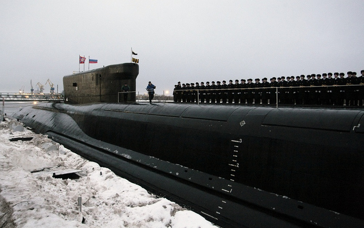 The fourth generation Borei class ballistic missile submarine Alexander Nevsky. The Borey is Russia's first post-Soviet ballistic missile submarine class and will form the mainstay of the strategic submarine fleet