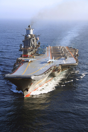 The Admiral Kuznetsov carries up to 52 aircraft, among them Su-33, MiG-29K fighters, Ka-27 helicopters, Su-25 UTG/UBP aircraft