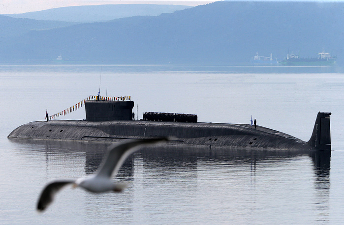 Borei-class nuclear-powered ballistic missile submarine Yuri Dolgoruky during the Russian Navy Day parade in Severomorsk
