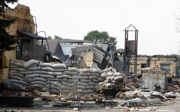 A destroyed house in the village Avdiivka 10 kilometers from Donetsk after an attack of the Ukrainian army