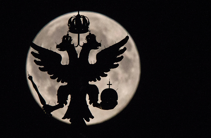 Full moon seen over Moscow's Kremlin