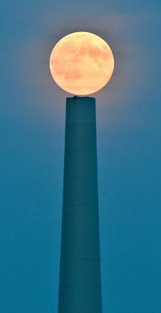 Full moon seen near Sieversdorf in Germany