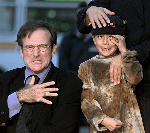 Robin Williams and his son Cody in 1998
