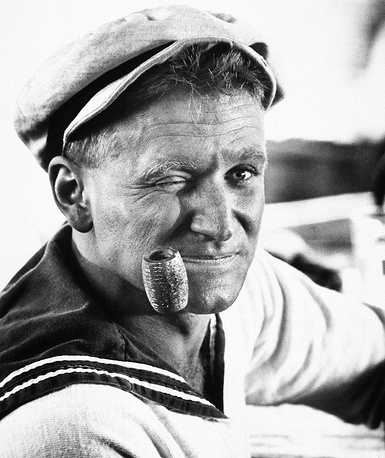 Actor Robin Williams, shown in character as Popeye in 1980