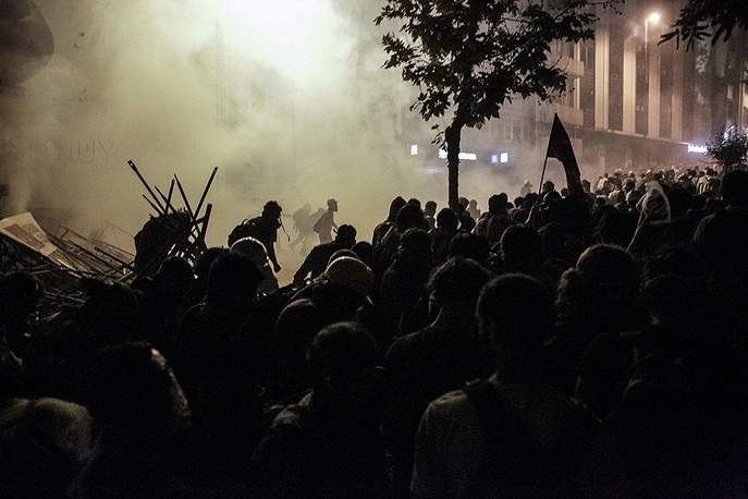 Protesters clash with police near Taksim Square in Istanbul, Turkey, 2013