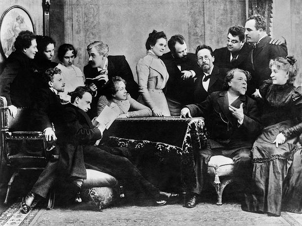 Anton Chekhov with actors of the Moscow Art Theatre, 1899
