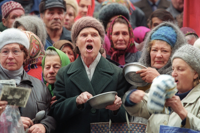 Rostov region. Women protesting against non-payment of pensions and poverty in the city of Shakhty, 1988