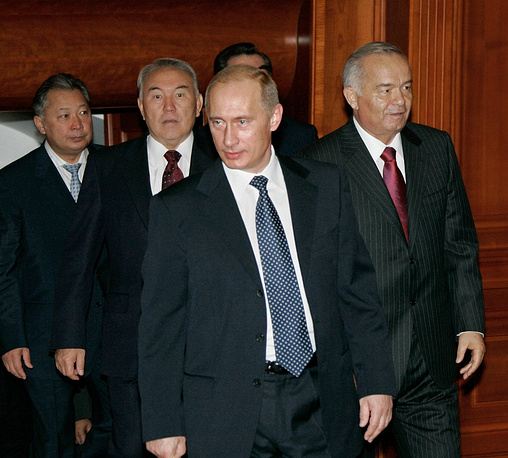 In 2005 he participated in a summit of Organization of Central Asian Cooperation. Photo: Presidents of Kyrgyzstan, Kazakhstan, Russia and Uzbekistan, Kurmanbek Bakiyev, Nursultan Nazarbayev, Vladimir Putin and Islam Karimov